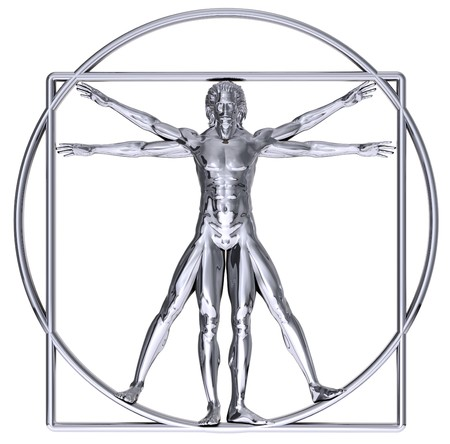 Chrome Vitruvian man isolated on white photo