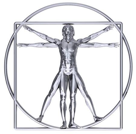 chrome man: Chrome Vitruvian man isolated on white Stock Photo