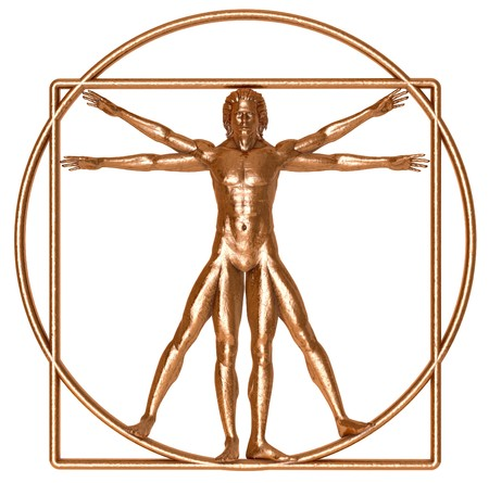 An antique bronze Vitruvian man isolated on white Stock Photo - 7053867