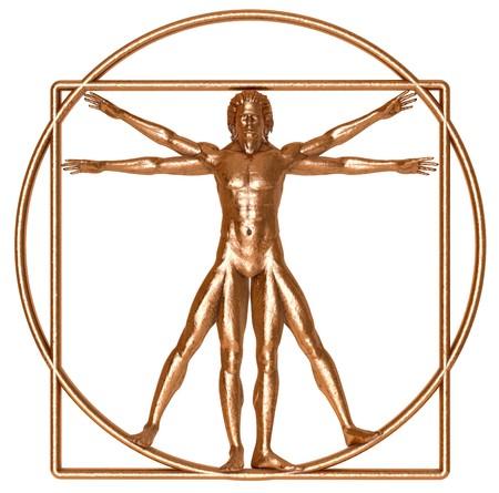 vitruvian man: Un antiguo hombre de Vitruvio de bronce aislado en blanco
