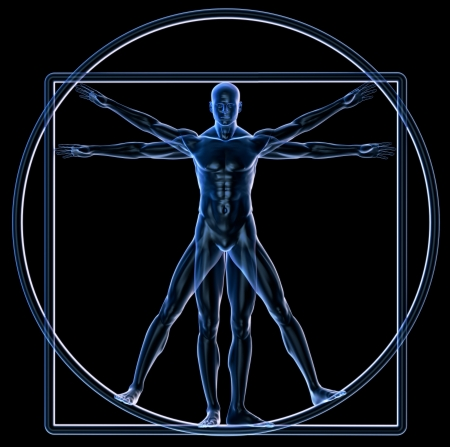 Xray bronze Vitruvian man isolated on white photo