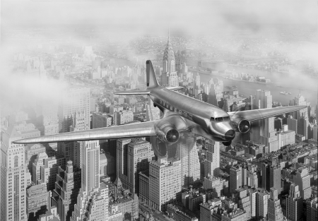 historic and vintage: Vintage image of a Douglas DC-3 over New York City Stock Photo