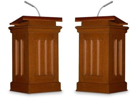 controversy: Two opposing podiums isolated on white background with microphone Stock Photo