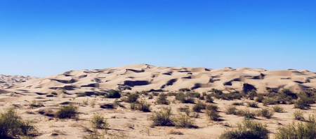 compiled: Panorama compiled from 3 pictures of the Imperial sand dunes in California. Stock Photo