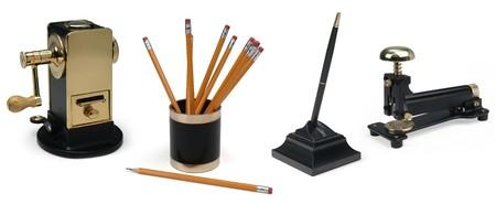 office stapler: pencil sharpener, pencil holder, pencil, pen, stapler on white background Stock Photo
