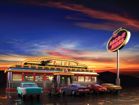 historic and vintage: Retro American diner at dusk