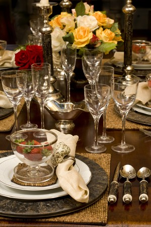 lavish: Lavish table setting with floral centerpiece