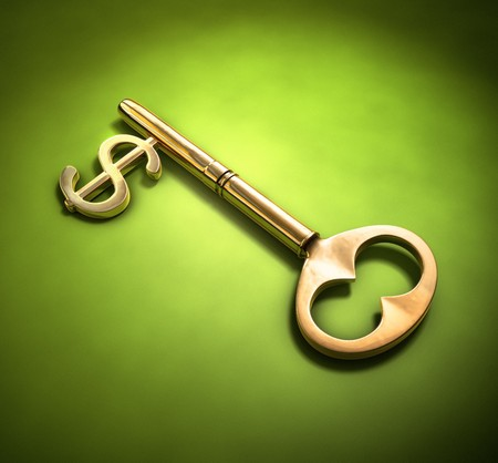 implemented: A key with a dollar-sign implemented on a green surface.