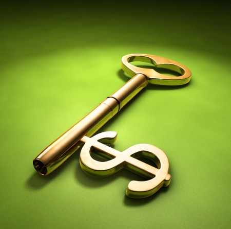 investment banking: A key with a dollar-sign implemented on a green surface.
