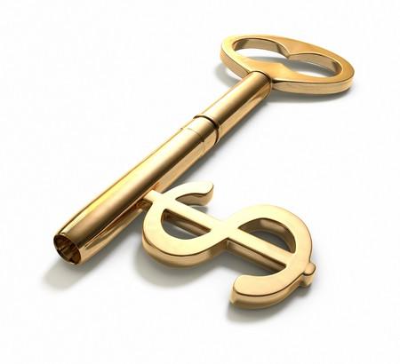 rendement: Een sleutel met een dollar-teken op wit geïmplementeerd. Bevat ClippingPath