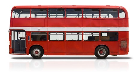 bus background: Red double decker London bus isolated on white Stock Photo