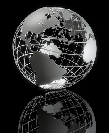 Alta calidad de arte 3d mostrando una estructura jaula de la tierra con piso reflexivo  Foto de archivo - 7052487