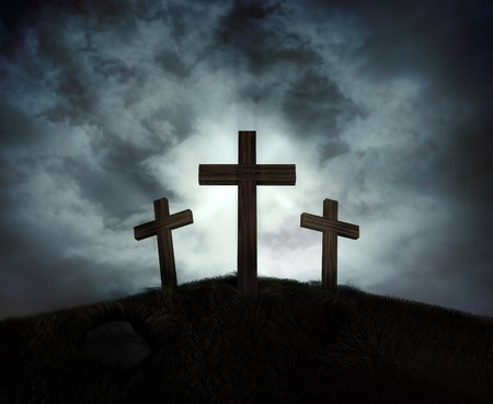 calvary: Silhouette of three crosses on a hill with a sunburst behind them Stock Photo