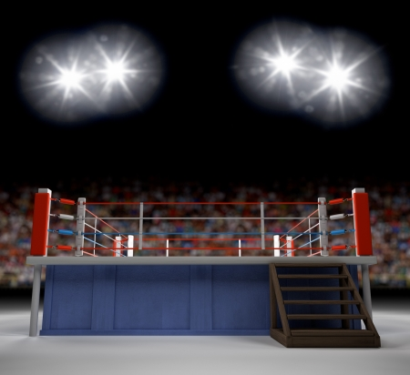 fight arena: A 3d generated professional boxing ring empty showiing audence in back.