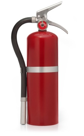red fire extinguisher on white photo
