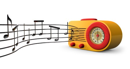 A Retro 1950s radio with music notes coming out of the speaker on a white background