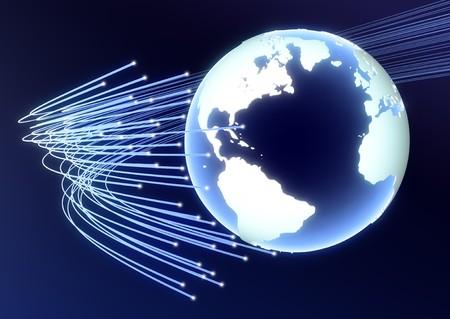 지구의 arount에 도달하는 광섬유를 보여주는 고해상도 3d 렌더링 스톡 콘텐츠