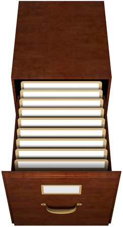 Open file drawer with nine file folders with blank labels