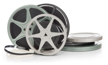 film festival: film reels and canisters isolated on white background