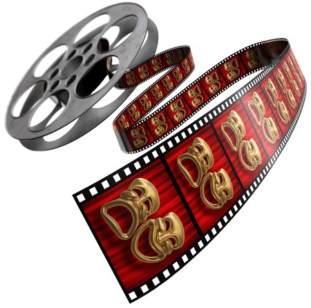 film reel: Movie film reel isolated on a white background with comedytragedy masks on the celluloid Stock Photo