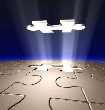 3d art: Arte conceptual de 3D de la �ltima pieza de Jigsaw bajando en su lugar.  Foto de archivo
