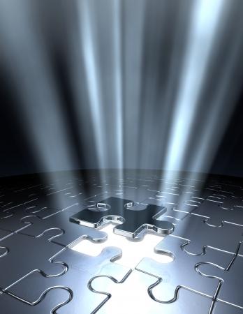 missing piece: Arte conceptual de 3D mostrando la �ltima pieza del rompecabezas de Jigsaw bajando en su lugar.  Foto de archivo