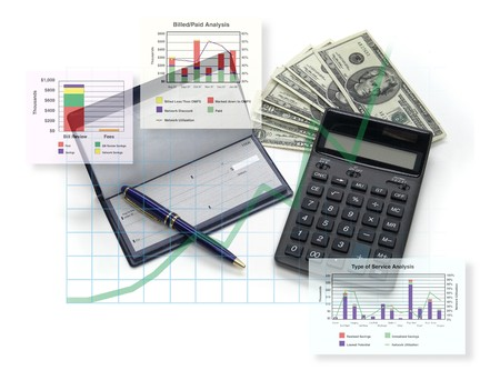 cashflow: an�lisis financiero; cheques, gr�ficos, dinero, calculadora