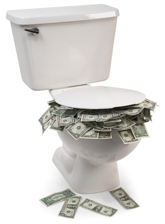 spending money: toilet full of money