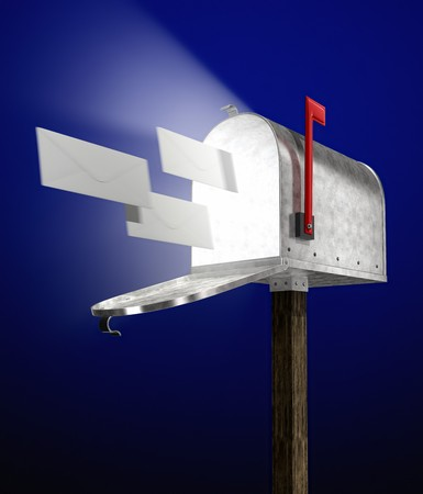 e-mail letters flying into a galvanized mailbox showing volume light flying out photo