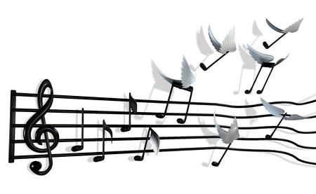 partition musique: Une partition musicale avec les notes p�le hors les barres et flying away librement Banque d'images
