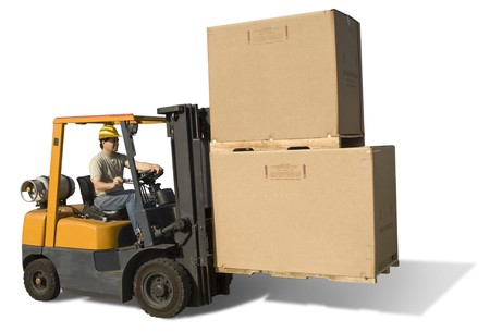 warehouse: Forklift with operator isolated on a white background