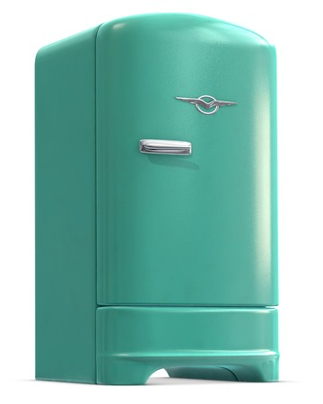 A retro turquoise colored refrigerator door closed on white.