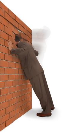 daremny: Mężczyzna slamming głowie do ściany cegła, odizolowane na białym tle