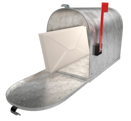 A standard galvanized mailbox with mail and flag up over white. photo