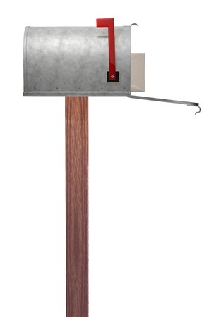 A standard galvanized mailbox on post showing side profile, with mail and flag up over white. photo