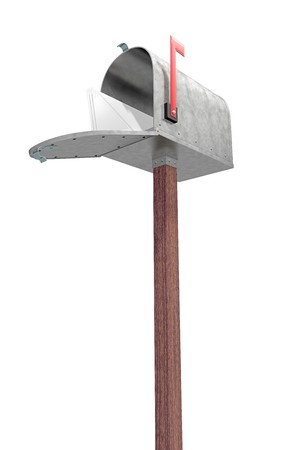 metal post: A standard galvanized mailbox on post, with mail and flag up over white.