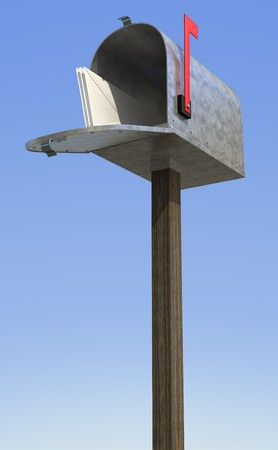 A standard galvanized mailbox on post, with mail and flag up over the blue sky.