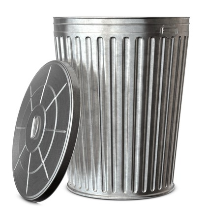A galvanized trash can with the lid-off on a white background
