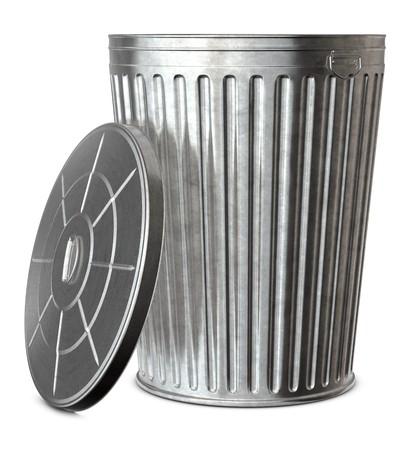 �garbage: Una papelera galvanizado con la tapa-off sobre un fondo blanco  Foto de archivo
