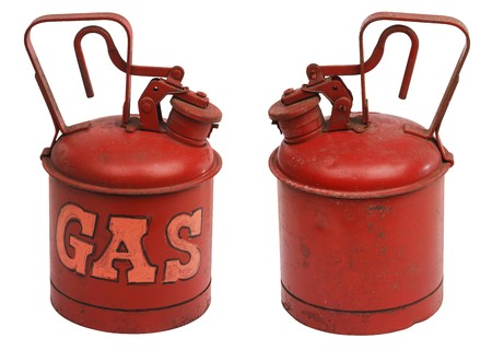 red one gallon metal gas can shot from front and back and isolated on white with clipping path photo