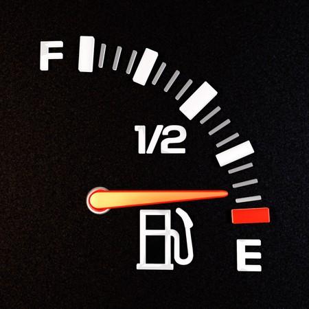 gas gauge: A gas gauge showing empty