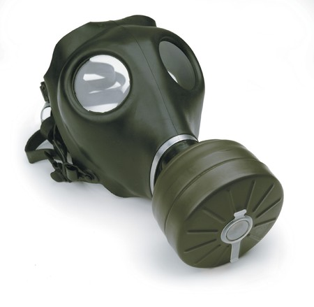 smell: gas mask on white background Stock Photo