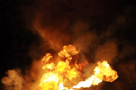 conflagration: erupting gasoline fire shot at night from a distance of 200 meters