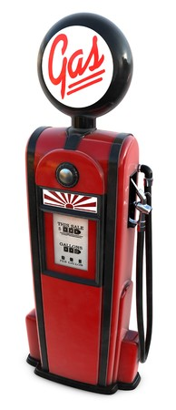A 3d rendered red 1950's era gas pump Standard-Bild