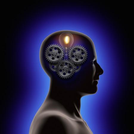 cognicion: Perfil de un hombre con marchas y una l�mpara de luz dentro de su cabeza  Foto de archivo