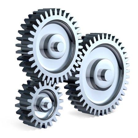 High-Resolution 3d Art showing the meeting point of 3 Different sized chrome gears.