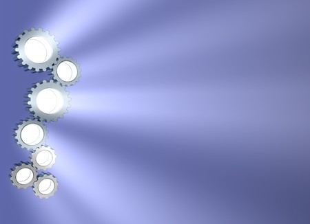 high tech: 3d concept art showing light beaming out of connecting gears. lots of copyspace. Stock Photo