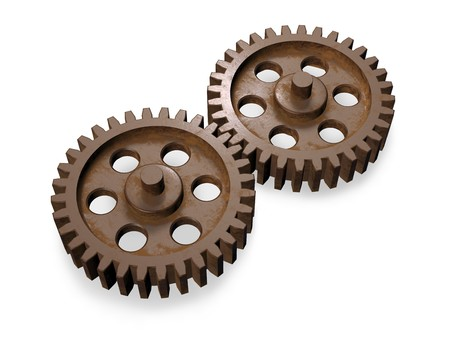 3d concept art showing two equal weathered gears working together. photo