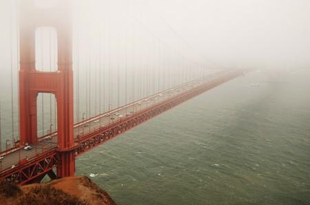 Golden Gate Bridge in fog photo