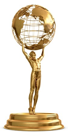 A gold trophy of a man holding a globe isolated on a white background.